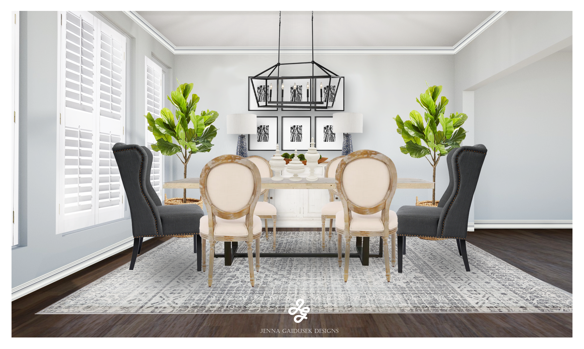 eDesign Services - If you are needing help with your open concept spaces- let's talk about your space! I collaborate with clients in the US and Canada all online. By taking your inspiration (that I KNOW you already have saved to your Pinterest or Instagram), I put together a cohesive design for your space that is tailored to you and your spouce's personal design style. I do all of this within your budget using the pieces you may want to hang onto as well.