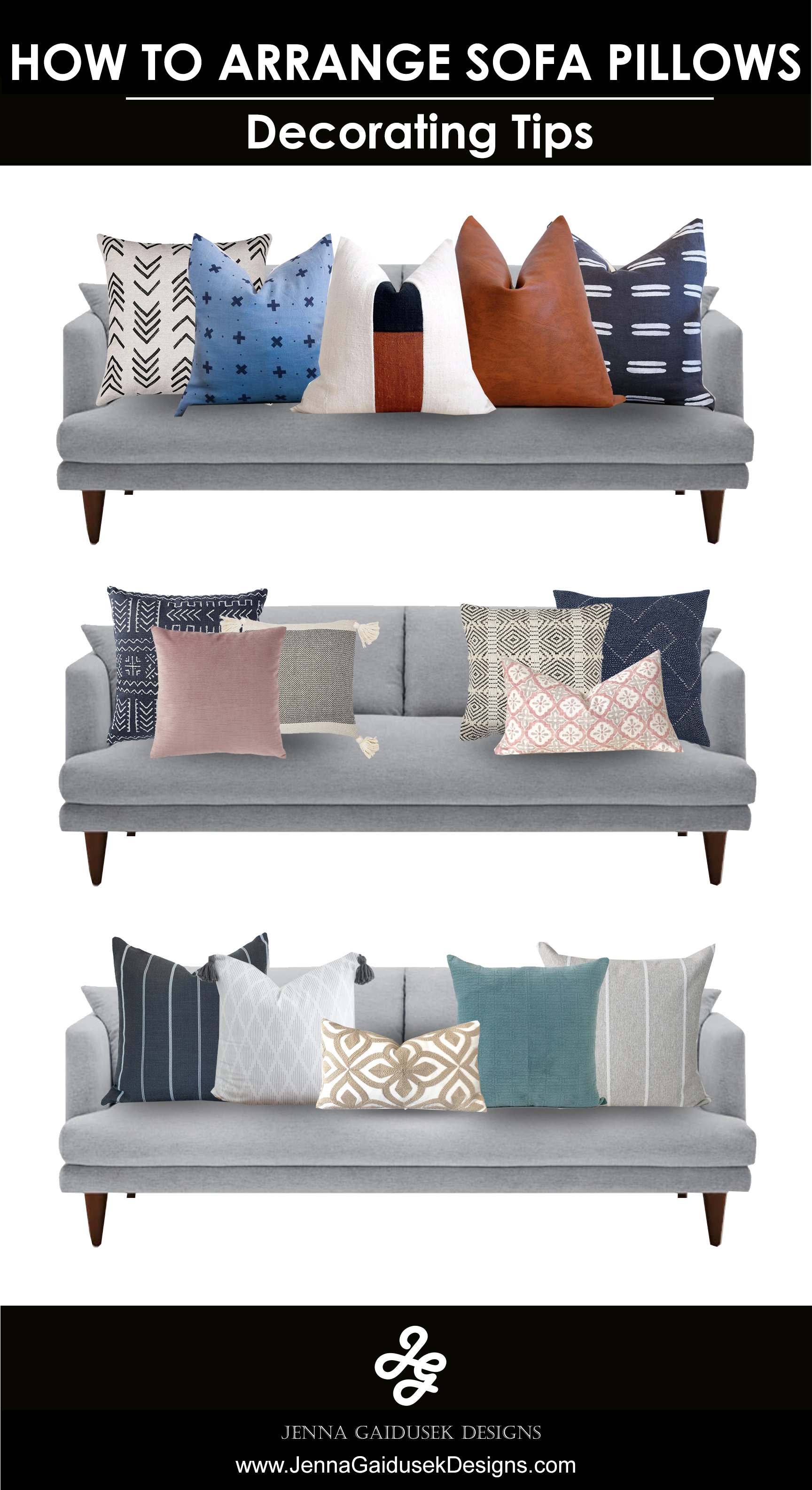 "Choose a medium sized print and pair it with a solid and large pattern pillow.  Mix textures like velvet, cotton, mud cloth, woven knits, faux fur faux leathers, etc.  Use various sized pillows to get this look, 22-24"" outer pillows, 1-20"" middle pillows  18"" or lumbar front pillows. #pillows #howtodecorate #coastalpillows #modernfarmhousepillows #mudclothpillows #mfh"