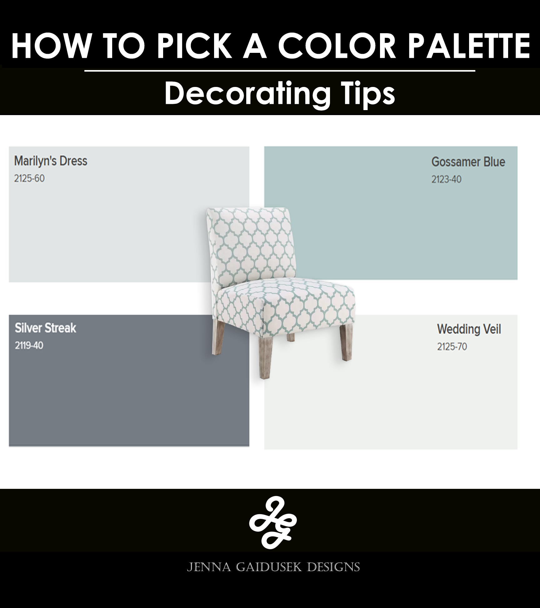 Then pair the blues with rich grays or black accents. You can also keep furniture light and airy with slipcovers that you can throw in the wash.   If you choose a light accent chair with a pop of color from your color palette- like this one- you can use a darker large furniture piece or rug to contrast the lighter chairs. A nice charcoal sofa or sectional would pair nicely with this chair. You can add white, gray, cream and various blue pillows and decor elements to the room.   Mix in some driftwood inspired wood-grains as well!   #Coastal #farmhouse #transitional