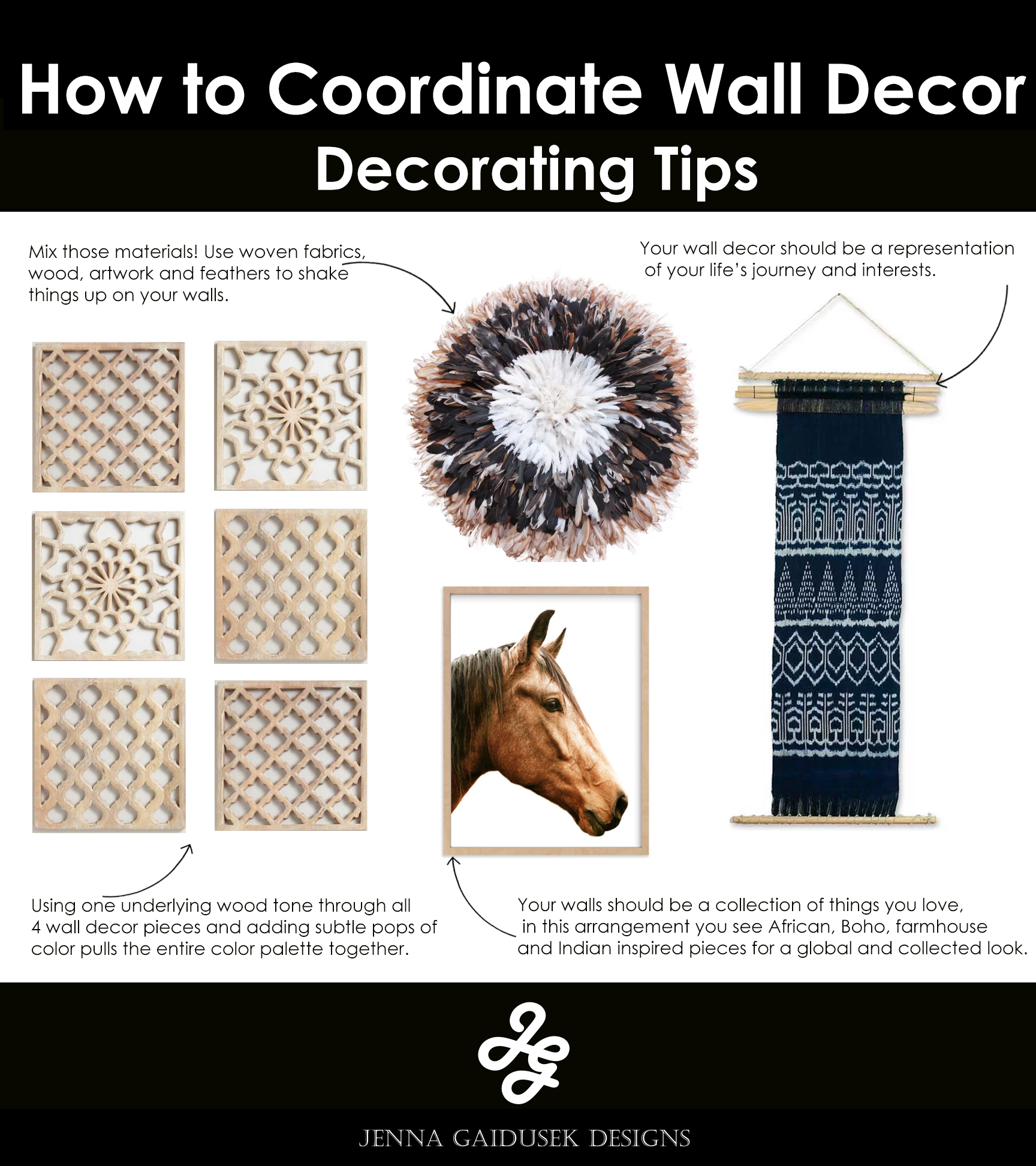 Mix those materials! Use woven fabrics, wood, artwork and feathers to shake things up on your walls.   Using one underlying wood tone through all 4 wall decor pieces and adding subtle pops of color pulls the entire color palette together.   Your walls should be a collection of things you love, in this arrangement you see African, Boho, farmhouse and Indian inspired pieces for a global and collected look.   Your wall decor should be a representation of your life's journey and interests.