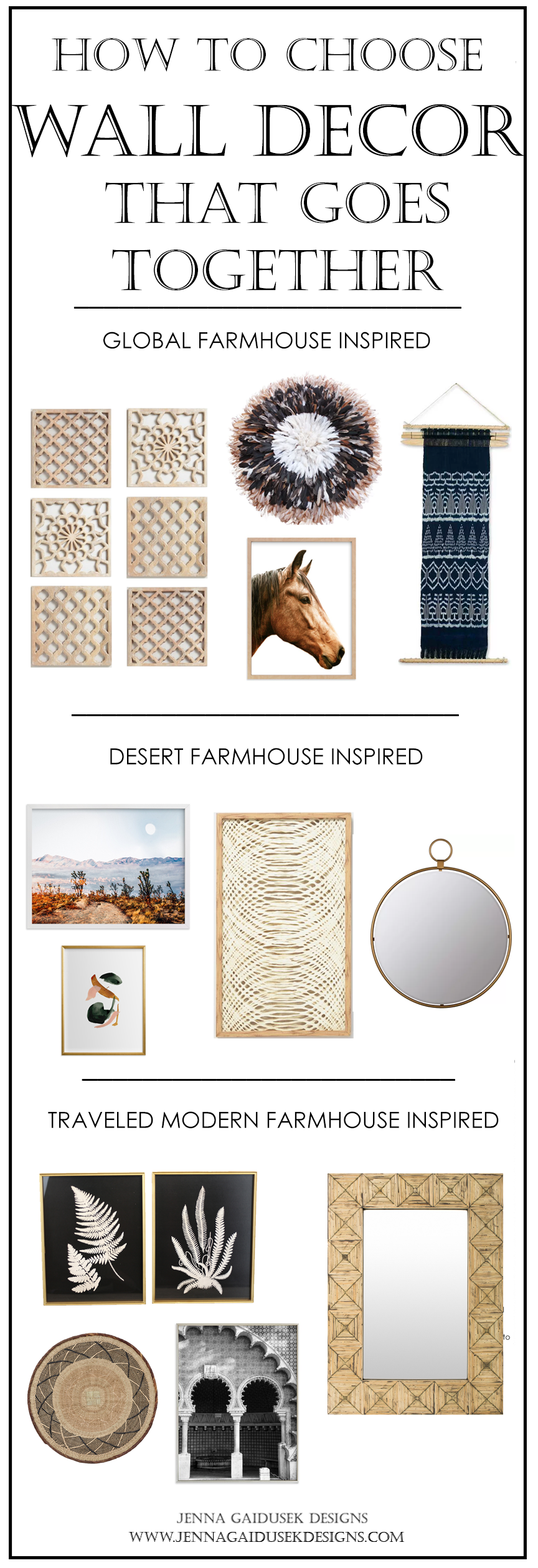 Desert Farmhouse Inspired  Checkout this modern Desert Farmhouse inspired wall decor arrangement for your living room, dining room or bedroom! #howtopickwalldecor #modernfarmhouse #bohofarmhouse #howihome #coastal #artwork