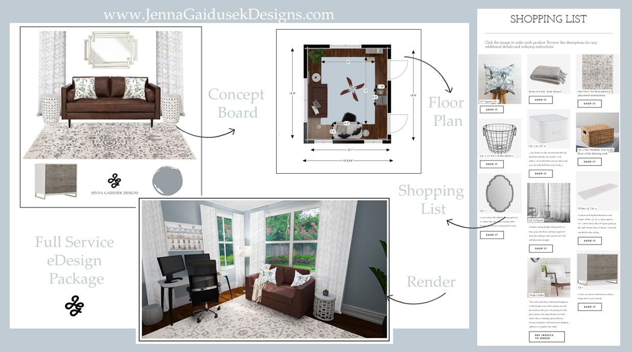 Premium online interior design with Jenna Gaidusek Designs. eDesign Process, how it works. Full service interior design, decorate your living room, dining room, office, bedroom and more! #refinedfarmhouse #modernfarmhouse #coastal #boho