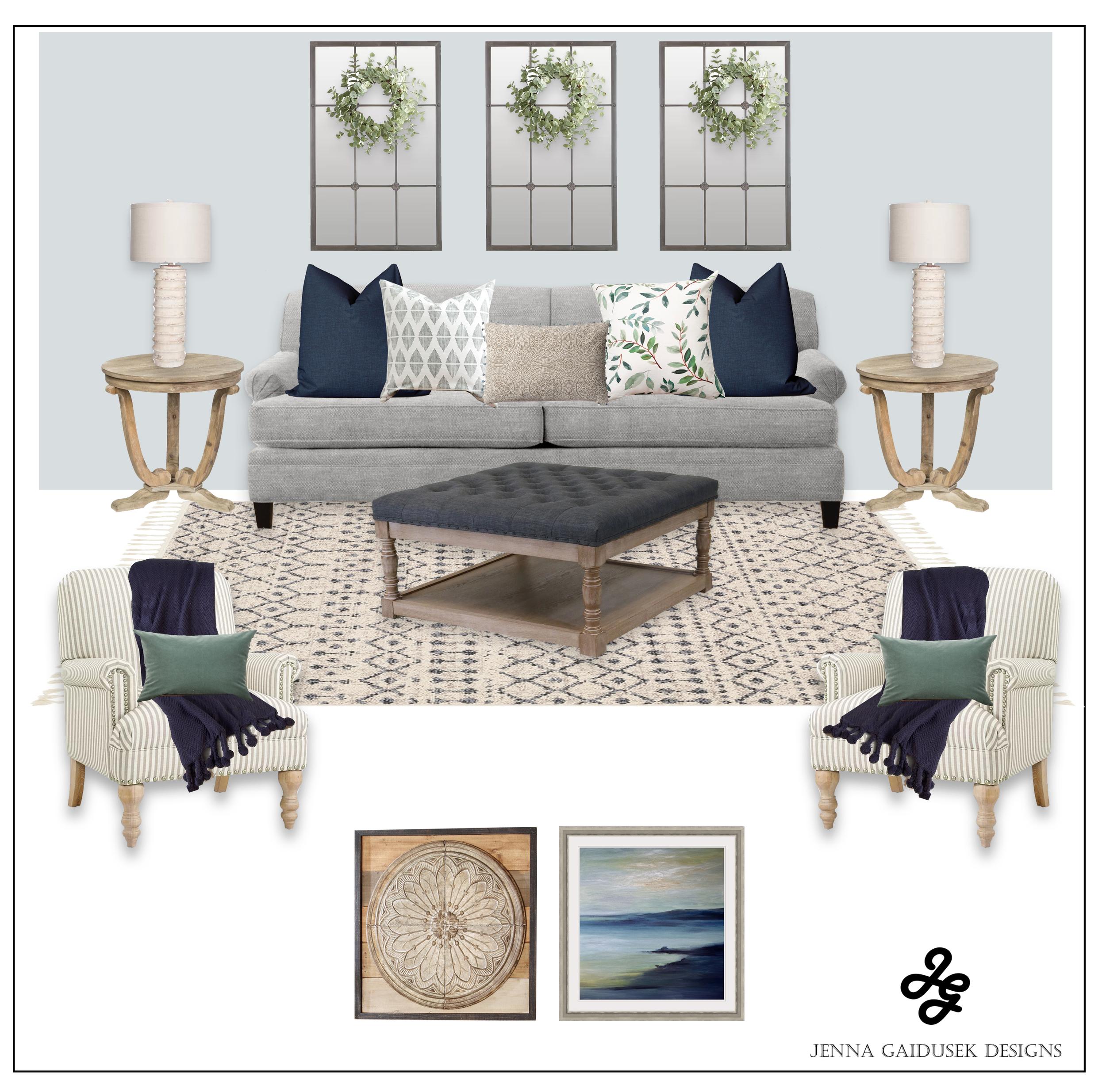 Farmhouse living room concept board