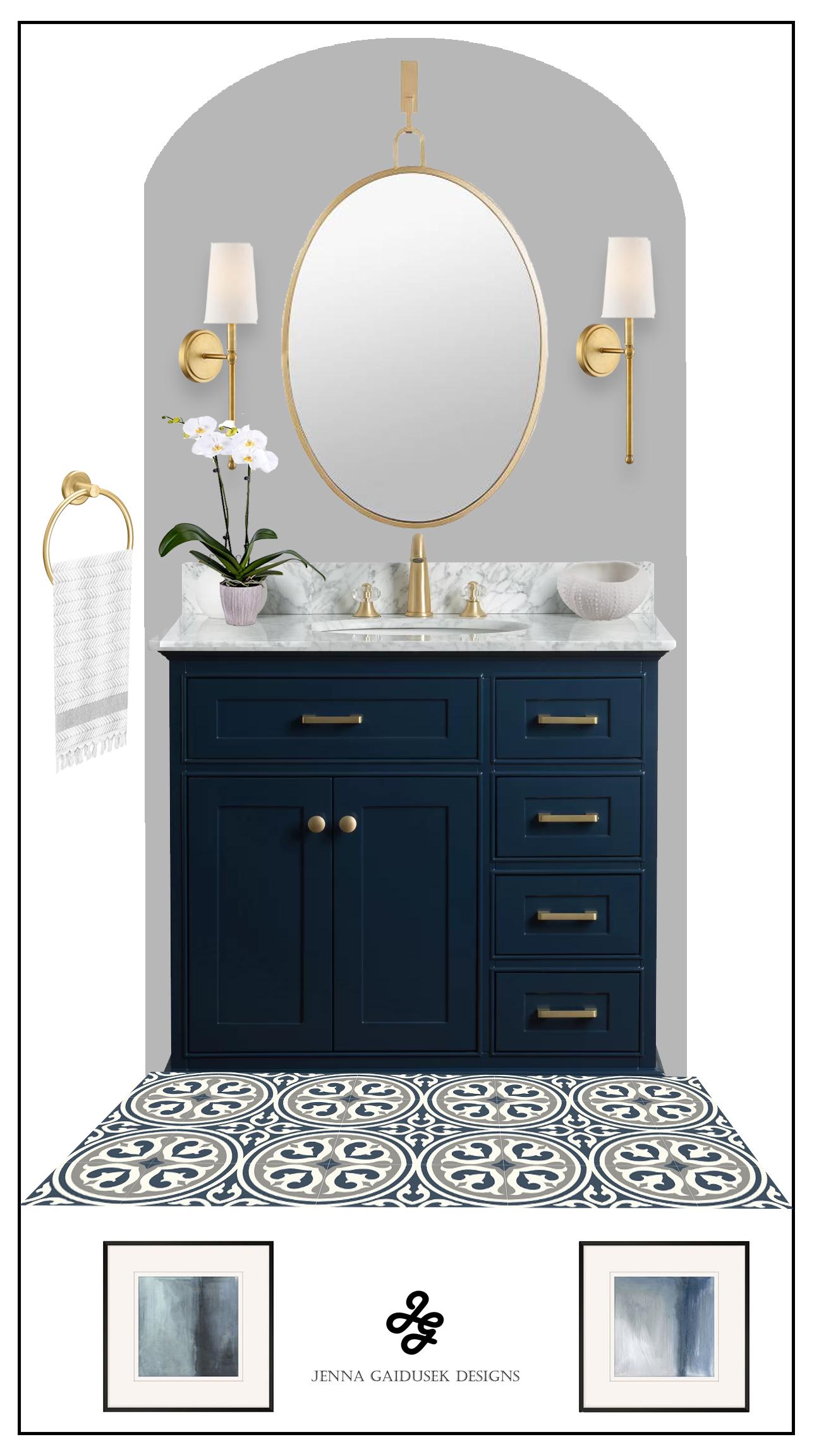 Coastal small bathroom concept plan