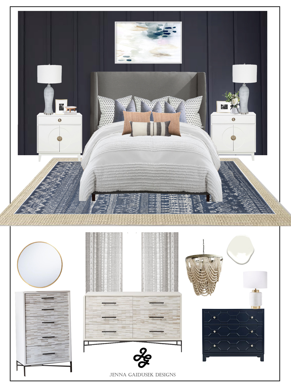 Modern farmhouse coastal bedroom concept board