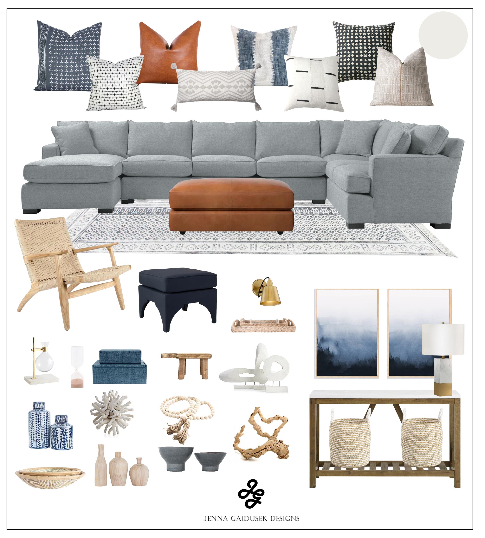 Modern farmhouse coastal living room design  concept