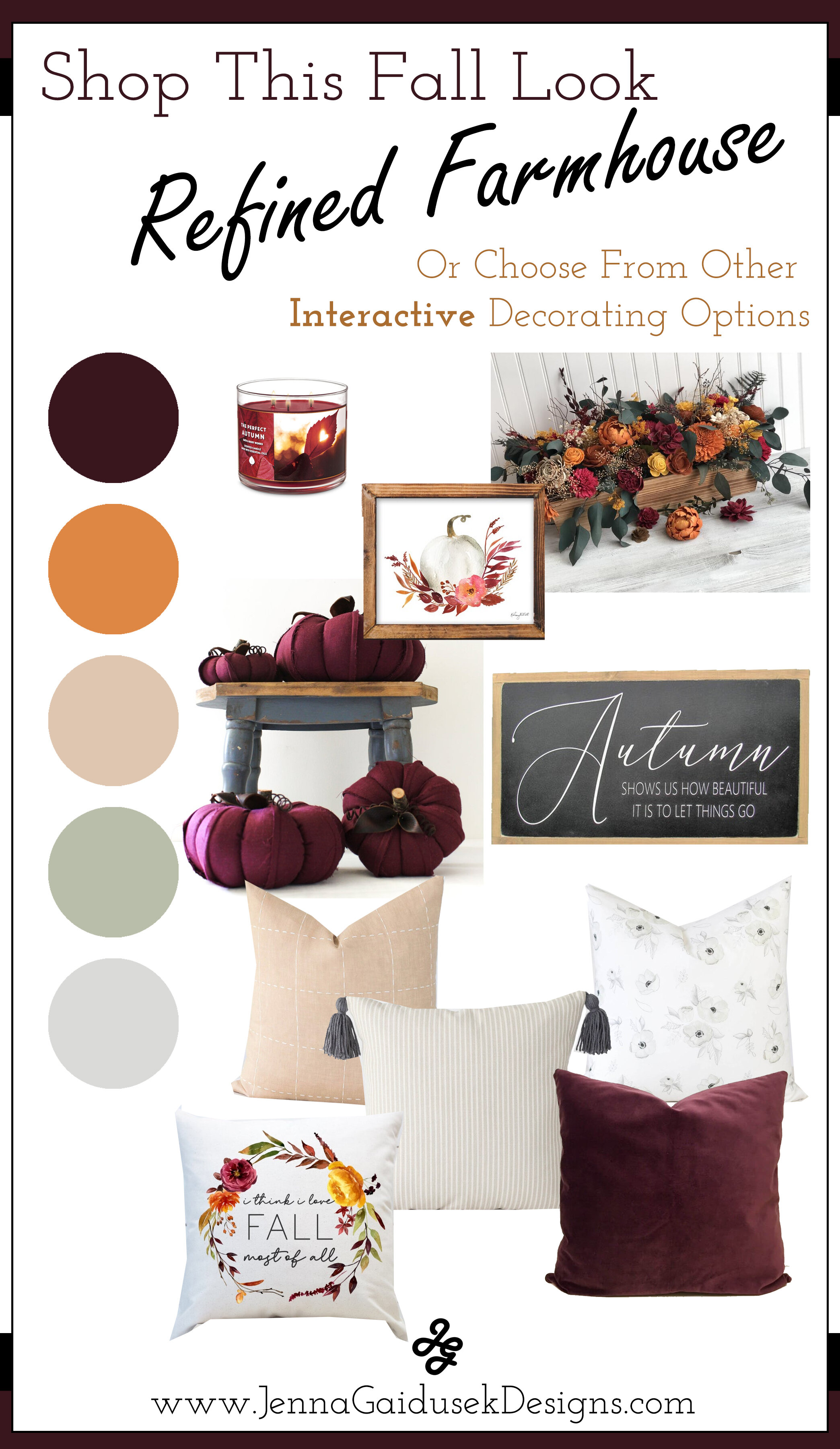 Plum Pin. Get your free fall decorating style guide! Shop the sophisticated refined farmhouse home decor based on your fall color scheme for this year. Add new pillows, fall wall decor, wood signs and more. All expertly designed by eDesigner, Jenna Gaidusek and sourced from Etsy small businesses. Get ready for entertaining your family and friends this Thanksgiving and Christmas season with these fresh fall decor styles! #modernfarmhouse #falldecor #decorateforfall #fallstyle