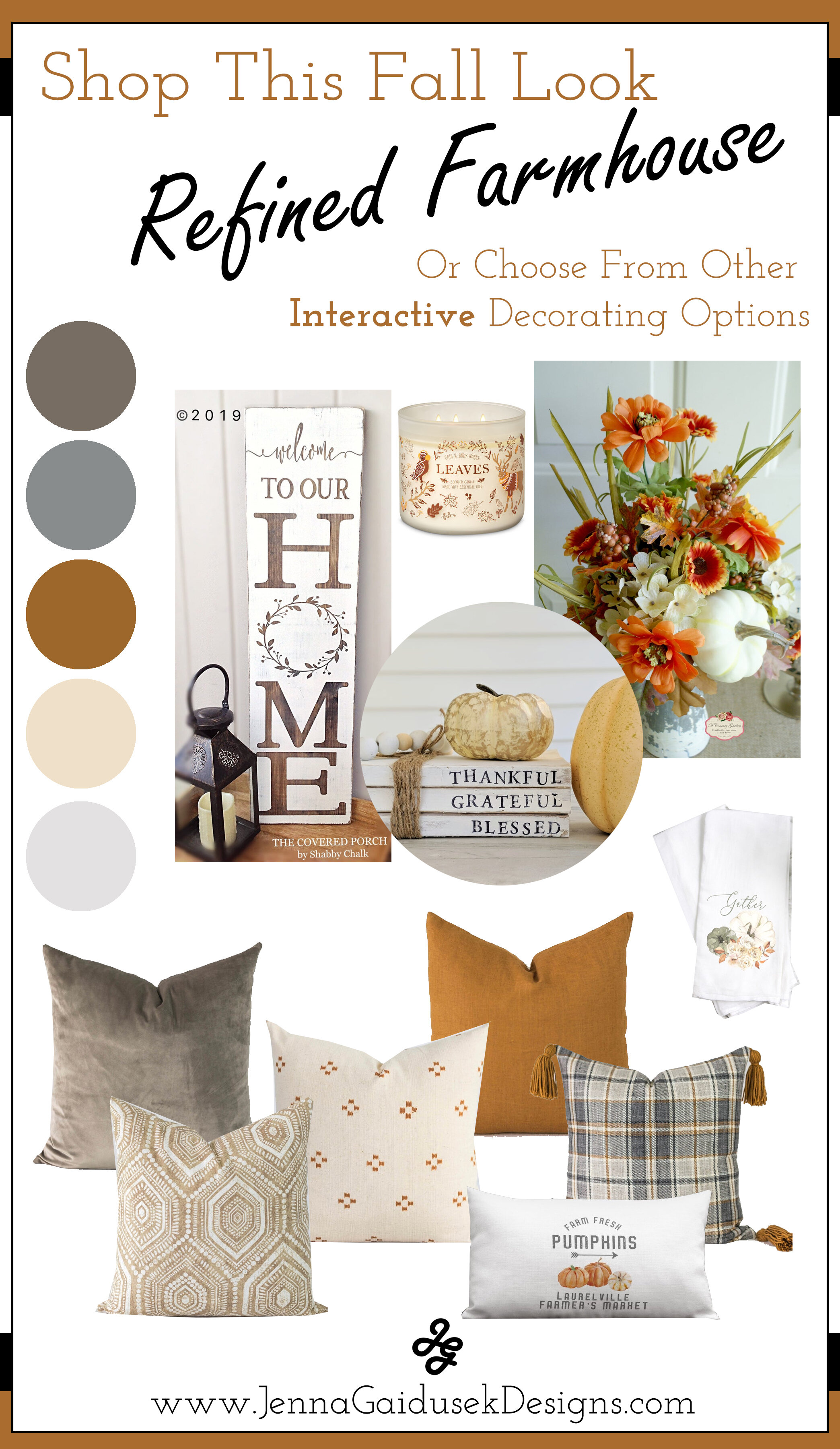 Sophisticated Autumn -Get your free fall decorating style guide! Shop the sophisticated refined farmhouse home decor based on your fall color scheme for this year. Add new pillows, fall wall decor, wood signs and more. All expertly designed by eDesigner, Jenna Gaidusek and sourced from Etsy small businesses. Get ready for entertaining your family and friends this Thanksgiving and Christmas season with these fresh fall decor styles! #modernfarmhouse #falldecor #decorateforfall #fallstyle