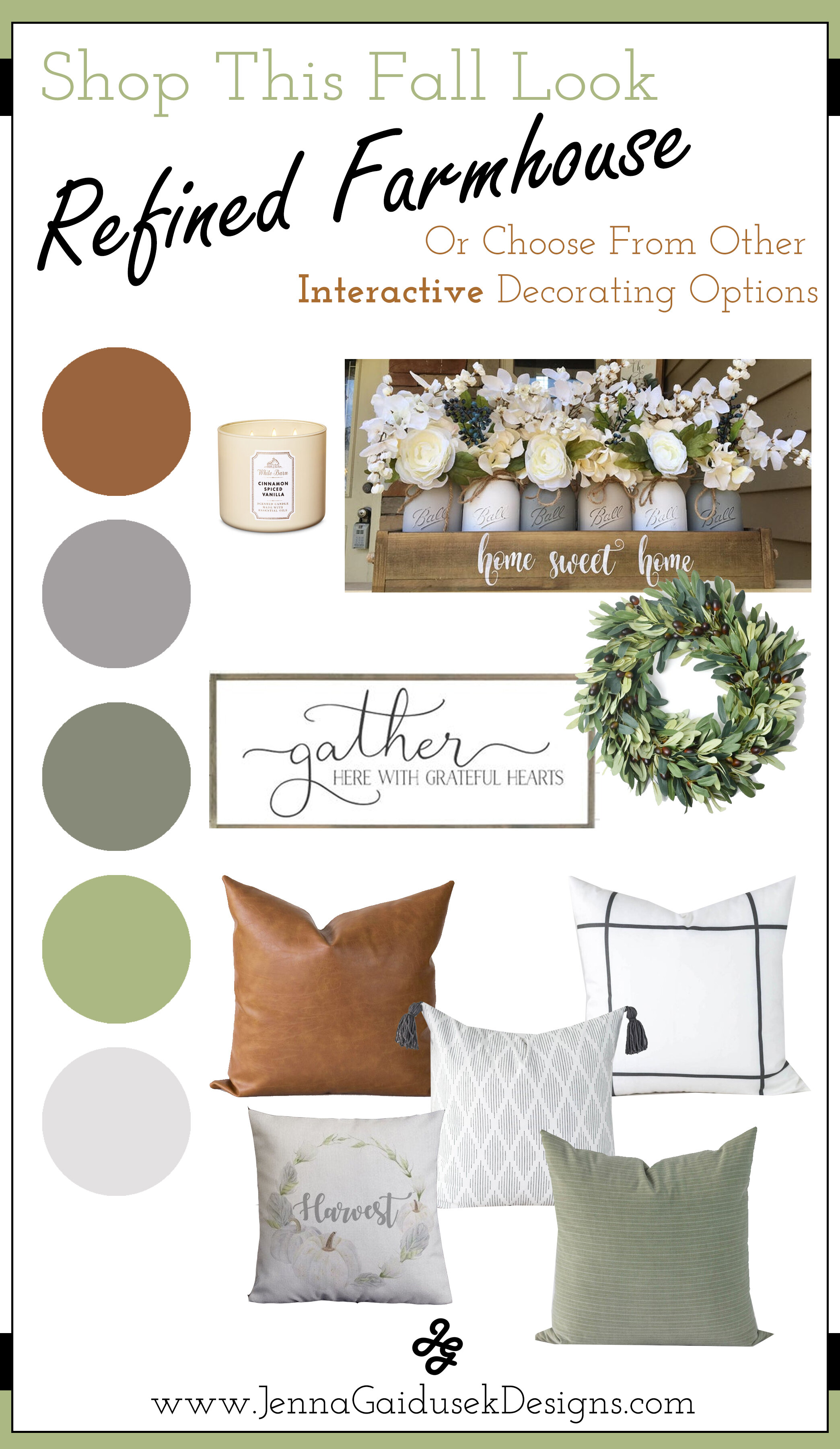 Get your free fall decorating style guide! Shop the sophisticated refined farmhouse home decor based on your fall color scheme for this year. Add new pillows, fall wall decor, wood signs and more. All expertly designed by eDesigner, Jenna Gaidusek and sourced from Etsy small businesses. Get ready for entertaining your family and friends this Thanksgiving and Christmas season with these fresh fall decor styles! #modernfarmhouse #falldecor #decorateforfall #fallstyle