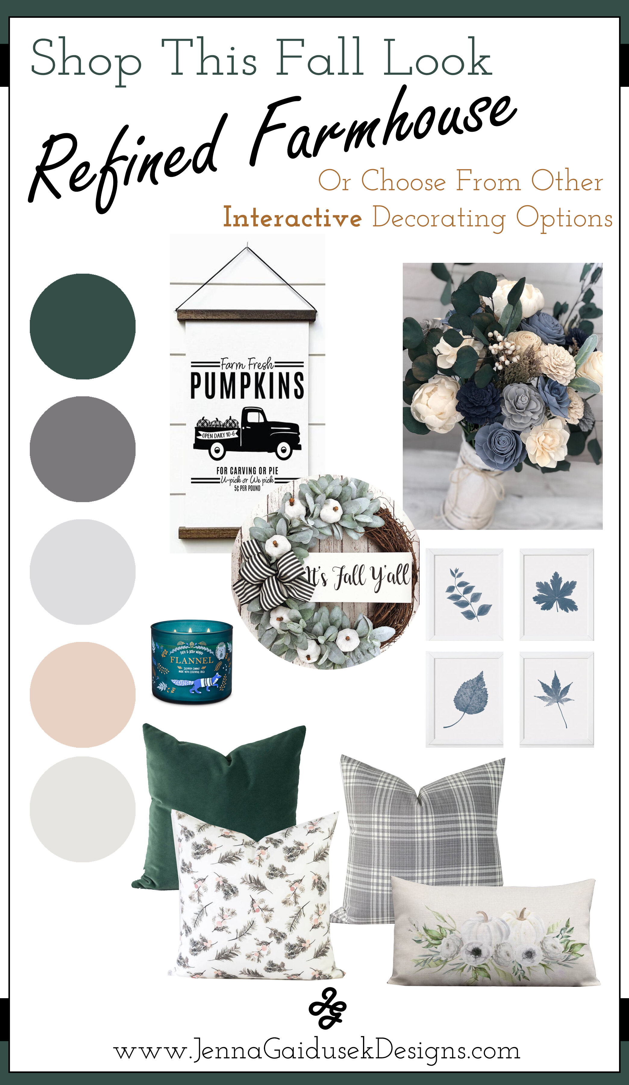 Fresh Fall Get your free fall decorating style guide! Shop the sophisticated refined farmhouse home decor based on your fall color scheme for this year. Add new pillows, fall wall decor, wood signs and more. All expertly designed by eDesigner, Jenna Gaidusek and sourced from Etsy small businesses. Get ready for entertaining your family and friends this Thanksgiving and Christmas season with these fresh fall decor styles! #modernfarmhouse #falldecor #decorateforfall #fallstyle