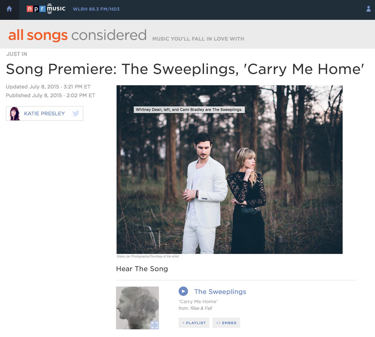 NPR Premiere - NPR premieres song