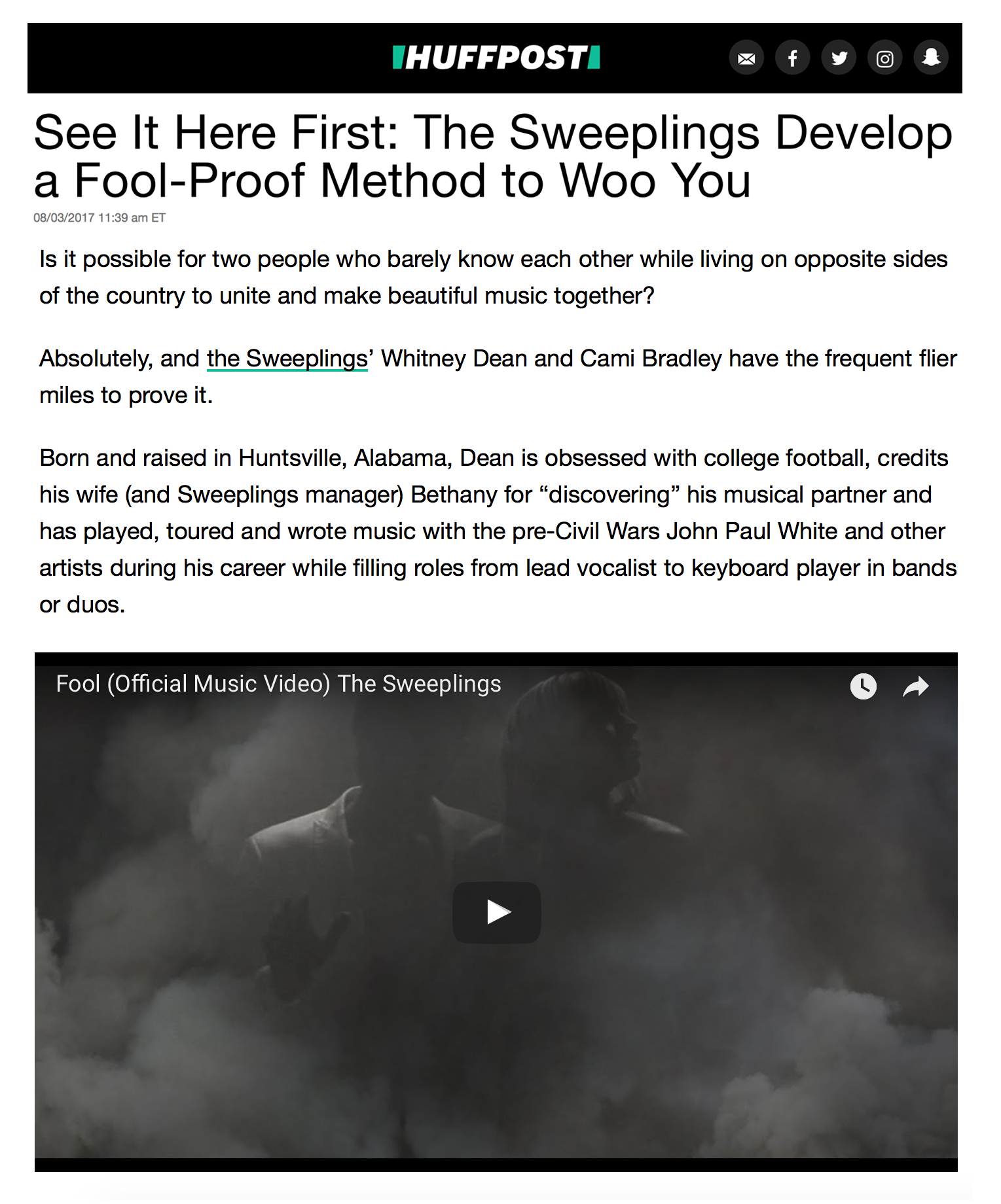 Huffington Post Write Up - Article from the Huffington Post about the Sweeplings, their new single & more