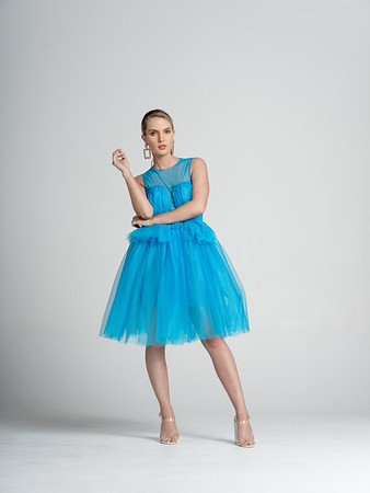 Tiffani Dress  Sheer mesh bodice with tulle bust overlay tutu style skirt/ Turquoise/ Available in size 4