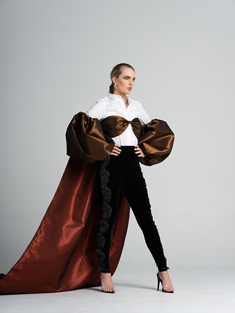 Operacoat  Taffeta bralette style top with opera sleeves with oversized cape/ brown & copper/ / Available in size 6-8