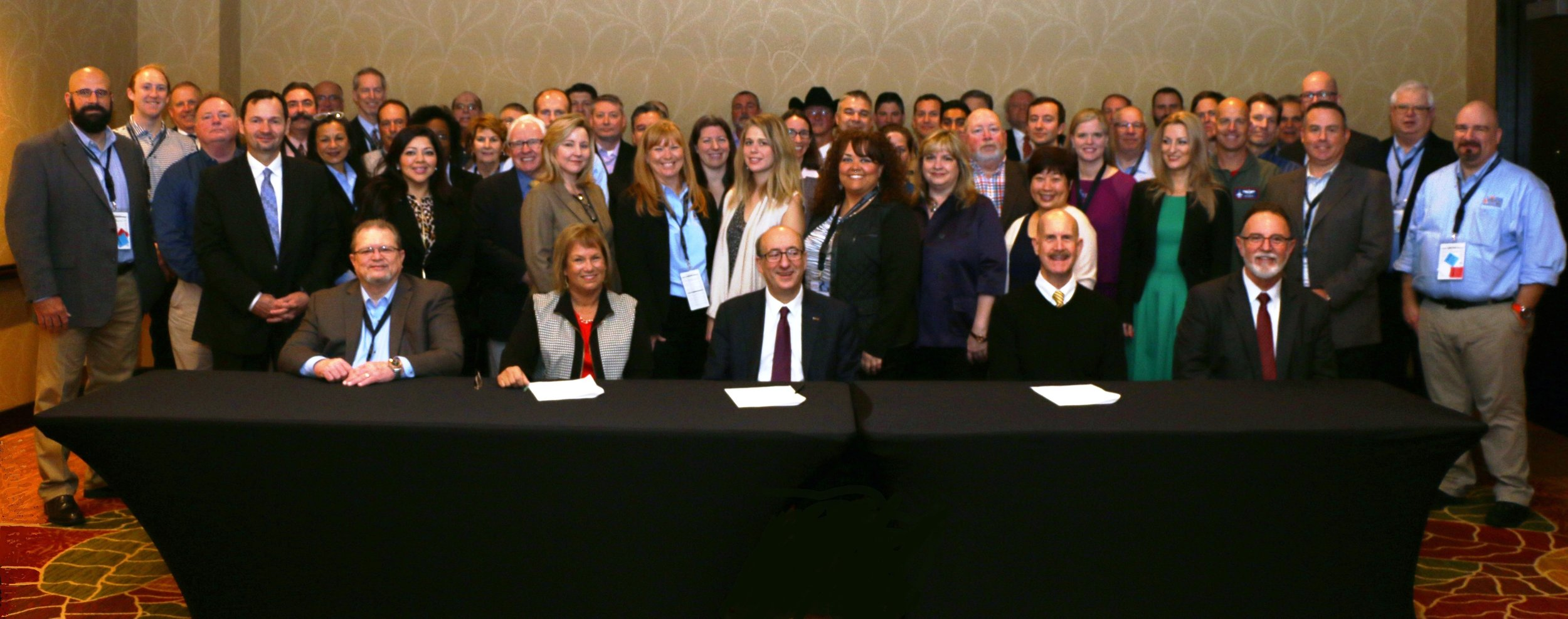 Renewing the National Alliance Agreement on November 29, 2016   Se  ated (L to R):  Jerry Jacobs , Co-Chairperson, National STEPS Network;  Joyce Ryel , Co-Chairperson, National STEPS Network; Assistant Secretary  Dr. David Michaels , USDOL-OSHA;  John Howard , Director, NIOSH; and  Rick Ingram , Chairperson, National STEPS Network.