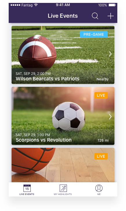 Location and time are important. - The audience that can see and create highlights from your events depends on the type of event you created and the location of your fans in relation to the event.Events will show a 'PRE-GAME' status 60 minutes prior to the event starting.Events will show a 'LIVE' status if the event has started streaming (recording video).