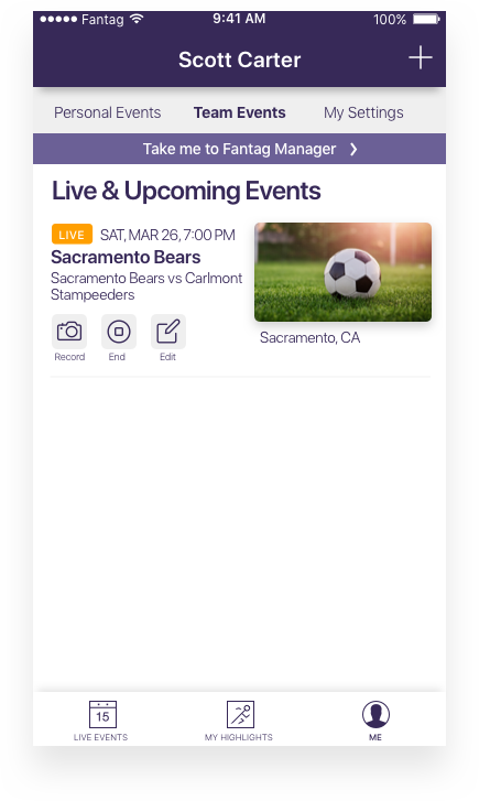 It's that simple. - Your event has been created and you're ready for fans.Tap the camera icon and the video capture screen will immediately open allowing you to record the event and Fantag at the same time.Tap the end event icon after your event is over. The card will collapse and remain in your Events I Created section.Tap the pencil icon if you want to edit the event description, date, time, etc.