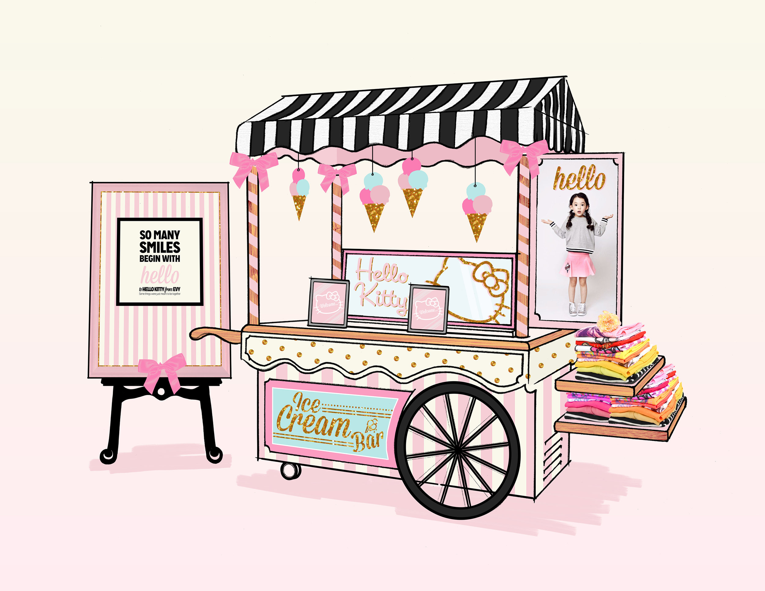 Merchandise Cart concept with iPad access, to search product and novelty Hello Kitty information.