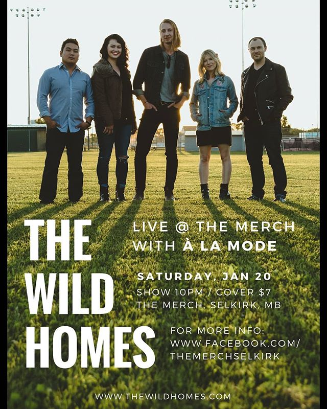 Hey Selkirk! @thewildhomes are playing at the Merch on Saturday, Jan 20. Joining us is the talented À La Mode from Winnipeg. Music starts at 10pm and tickets only $7. See you there!! #selkirkmusic #manitobamusic #thewildhomes #alamode #indiemusic #synthpop