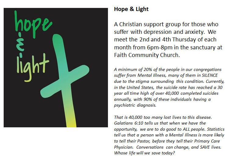 Join us on Facebook   https://www.facebook.com/hopeandlight