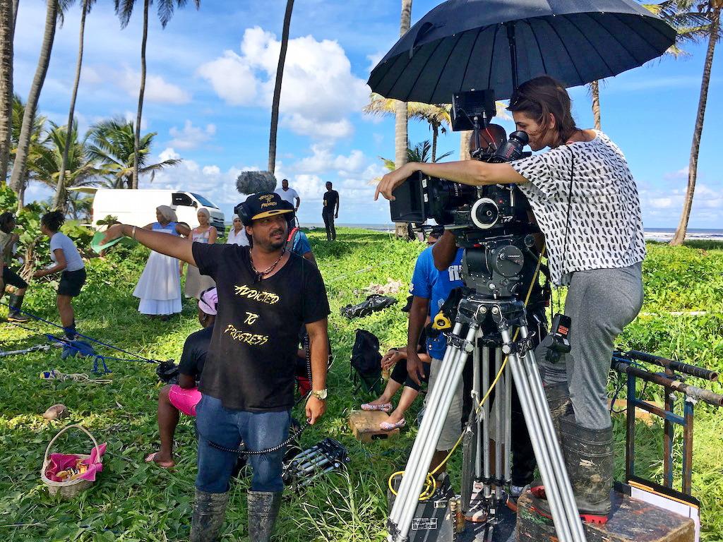 Michael Mooleedhar discussing a scene with cinematographer Andressa Cor