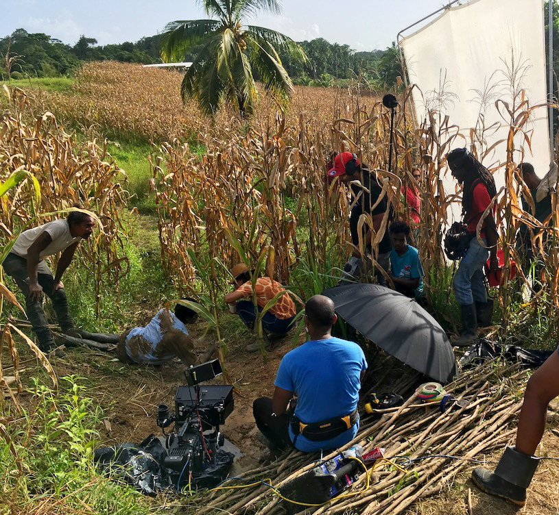 The Green Days by the River film team at work on set