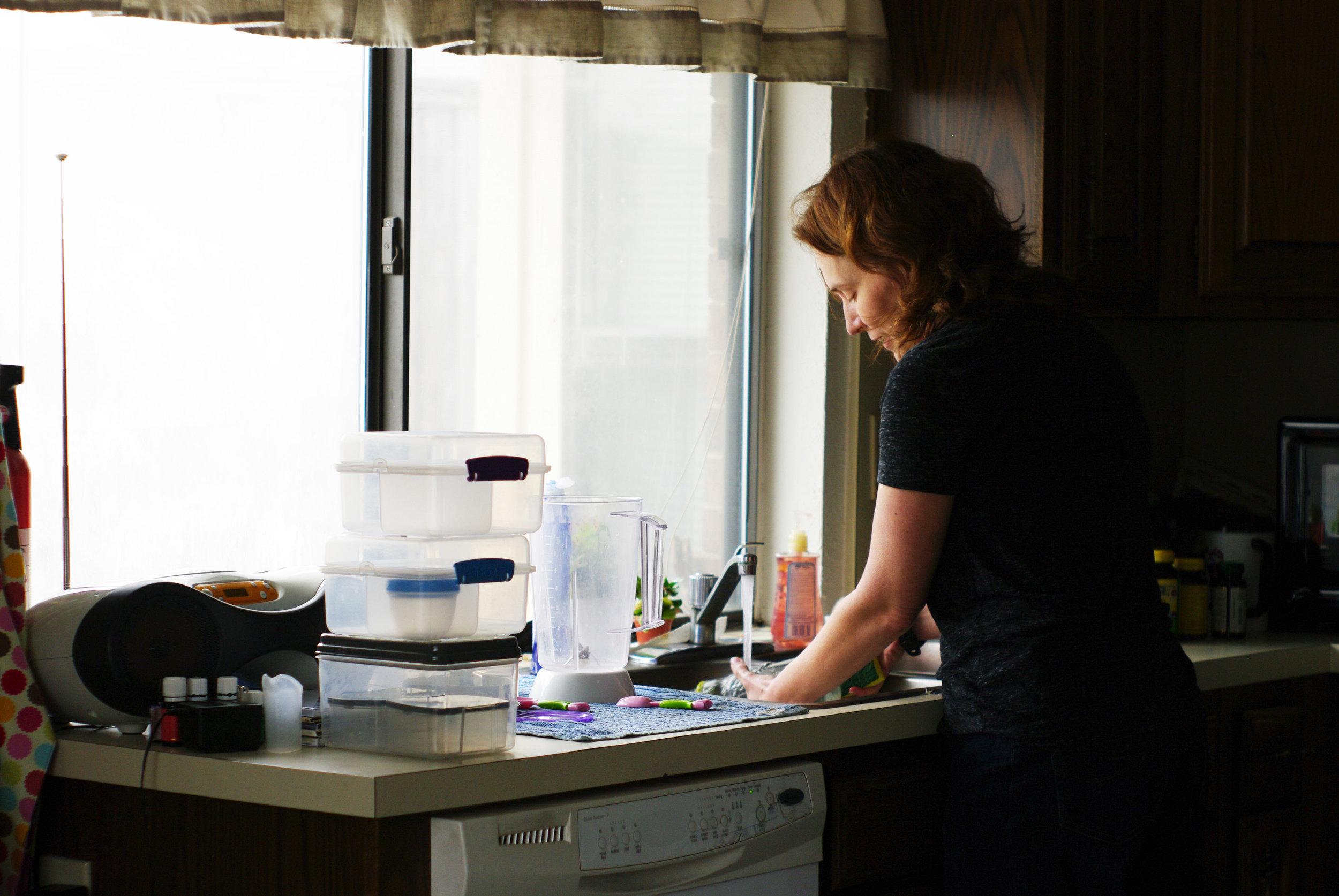 The artist at dish washing.