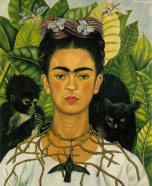 Frida Kahlo,  Self-portrait with Thorn Necklace and Hummingbird , 1940