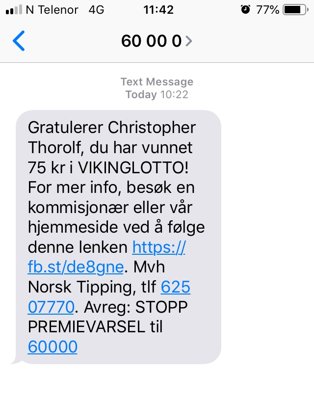 Viking Lotto text message