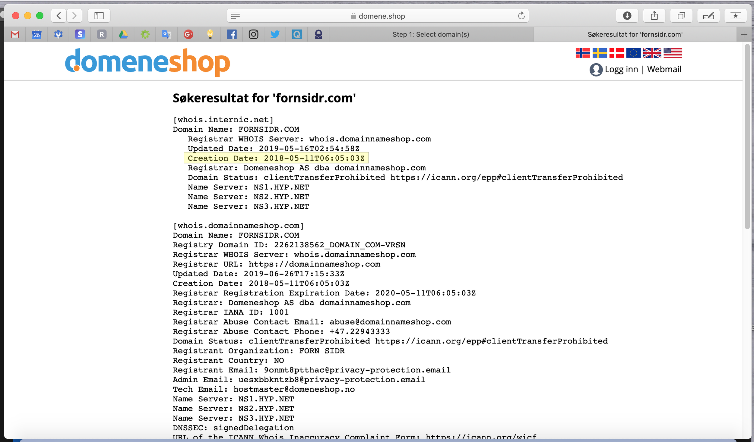 Fornsidr.com (US) domain registered on 11 May 2018.