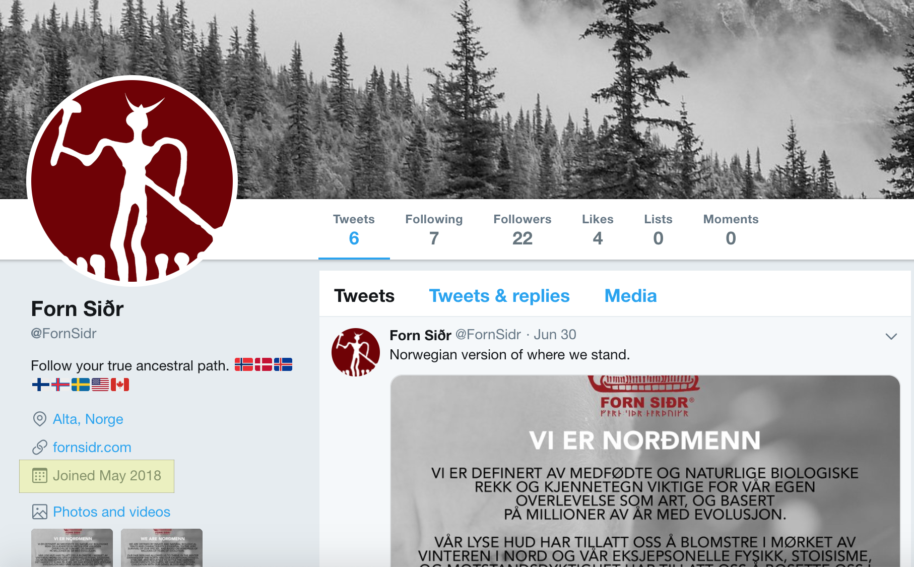 Twitter account created in May 2018.