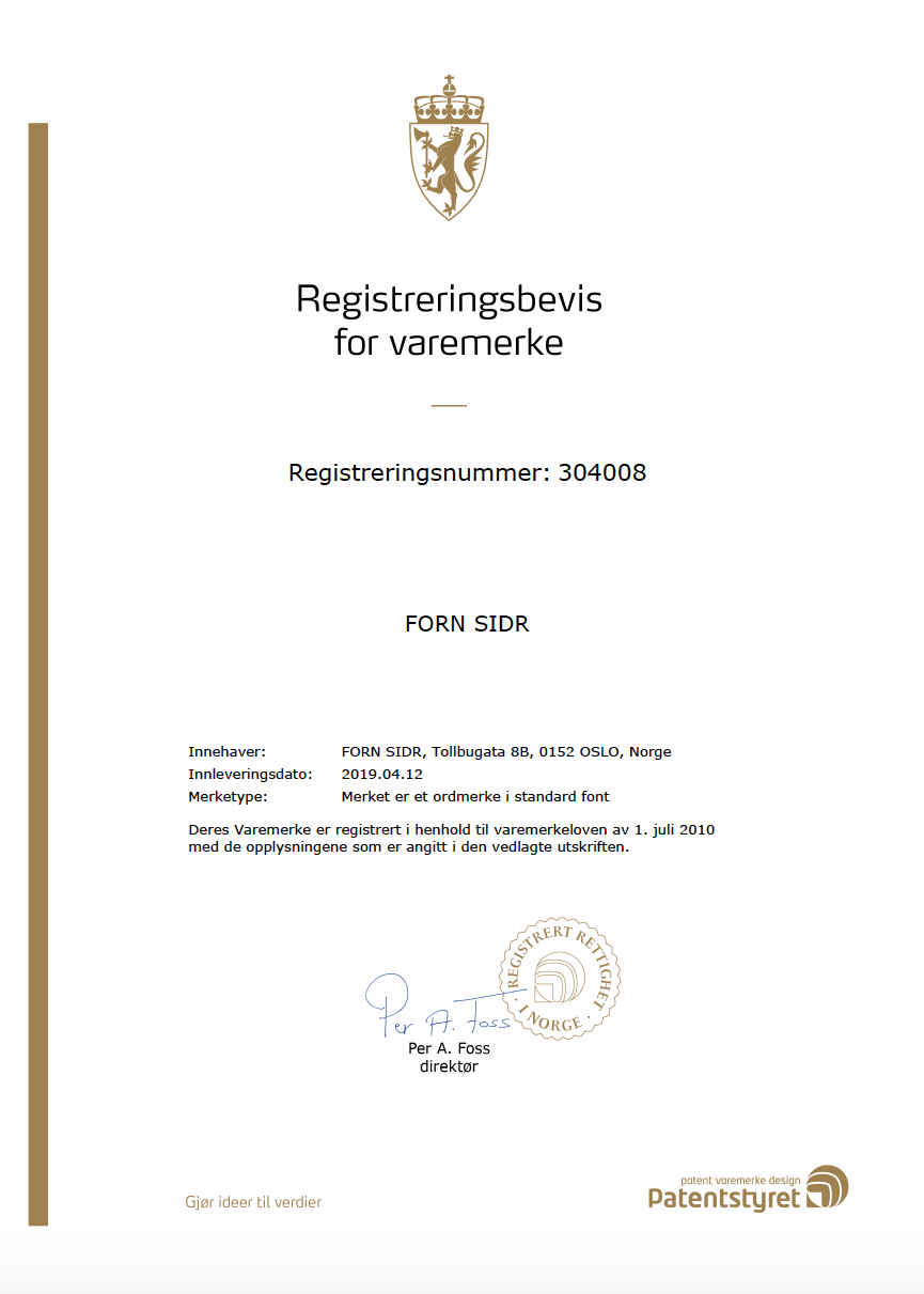 And of course, the actual trademark registration in Norway.