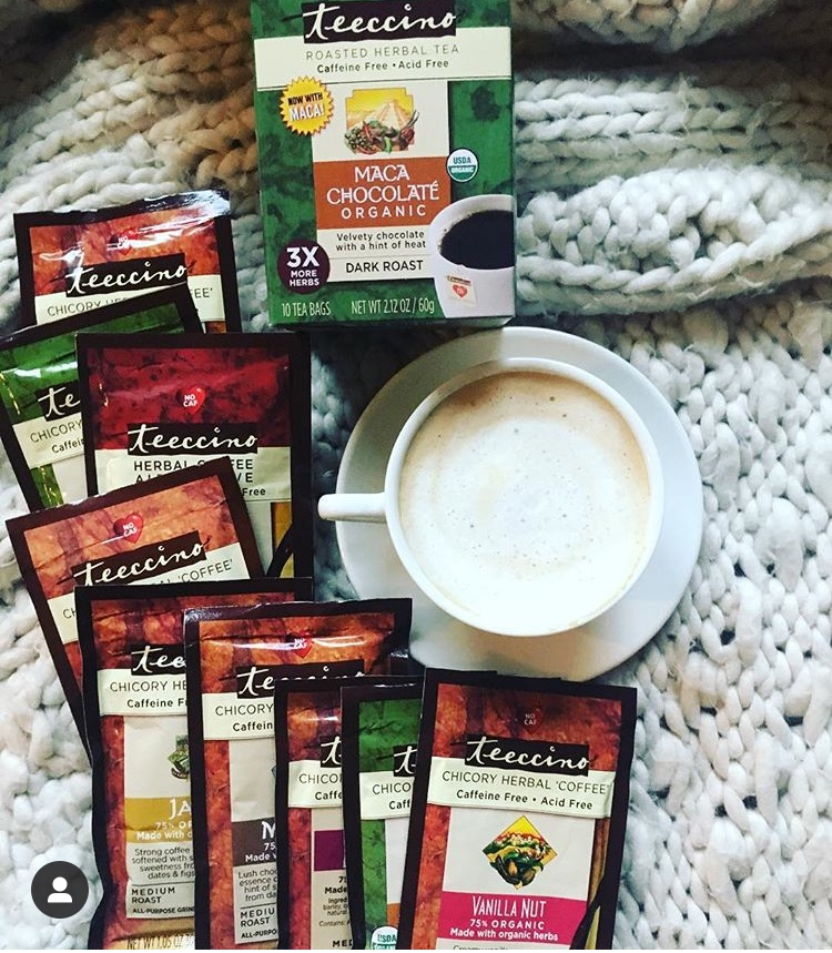 Teeccino Herbal 'Coffee'/Roasted Tea  Caffeine & Acid Free  *My favorite is the Vanilla Nut  Click this link for 10% OFF & Sample Packs always ship free!   https://teeccino.com/hearthappy/57/?campaign=RocketCityDietitianWebsite