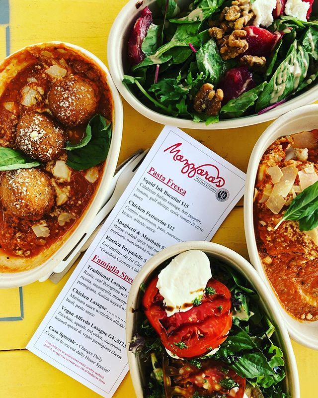 @mazzaras.italian.kitchen  Located @stovehouse in @westsidehuntsville is NOW OPEN! . Delicious Italian Kitchen with several 🍧 Gelato varieties to enjoy around the grounds of the Stovehouse. . 🌱 Vegan Options-like the Vegan and Gluten Free Alfredo Lasagna: zucchini, squash, red onion, mushroom, Brussel sprout & Vegan parmigiana cheese. . 🌾 Gluten Free Options- almond flour rolls, salads and more with GF/VG items noted on the menu . 🍅 Intriguing Items to try:  Italian Cotiche- Pork Rinds w/basil & sundried tomatoes . 🦑 Squid Ink Bucatini w/Italian sausage, bell peppers, tomato, gulf shrimp, rustic tomato & olive sauce. . Tonight I enjoyed; ➡️Traditional Lasagna ➡️Spicy Pancetta Arancini (cheesy rice balls in sauce) ➡️Roasted Beets ➡️Caprese Insalata . We tasted some great gelato 🍧 too! . Open only for dinner at this time 5-9pm and lunch time hours coming soon!