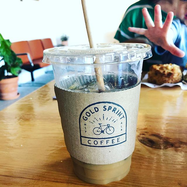 @goldsprinthsv  Earlier this week we tried the newest coffee shop in Huntsville and we LOVE it! Chill vibes and lots of room! Beer and outside patio available. . ⭐️Located near @lowemillarts they are currently in their soft opening with a limited menu. . We enjoyed the Dirty Chai and Iced Coffee this day along with Earl Grey Scone & Cheddar Biscuit from local favorite, @goodcompanycafe_ ! . A collaboration in the works is with @remedyherbs (a local herbalist with teas, tinctures, beauty products) *I love @remedyherbs products and can't wait to try a @remedyherbs latte! 🤗 . No changing tables in the restrooms but they are coming soon. A children's hot chocolate/tea is possibly in the works coming soon too! . If you've been following the #downtowncoffeetrail you can now finish your final stamp here! 🙌🏻 . The vibes here are amazing and I'm excited for Huntsville! .