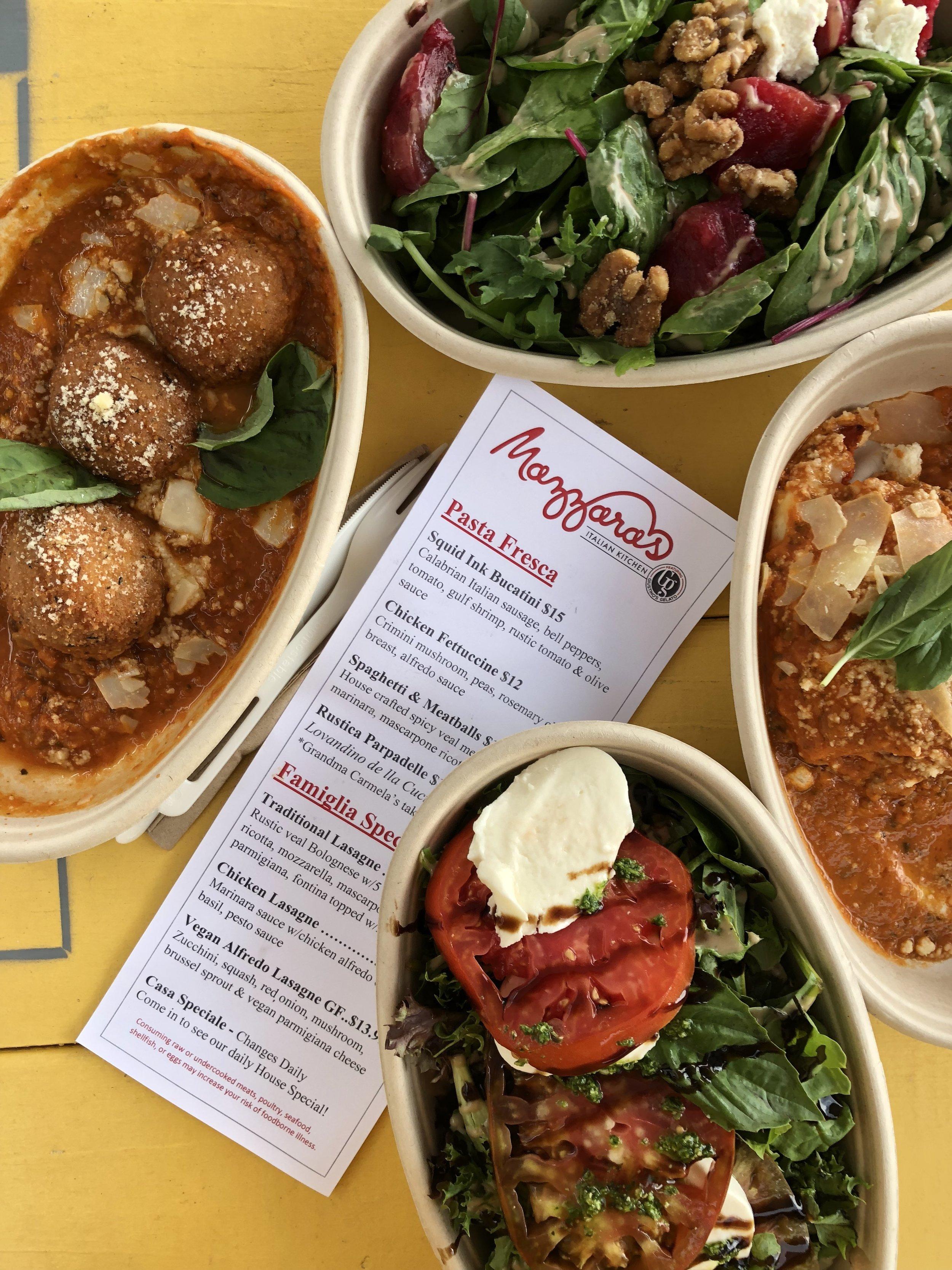 Mazzaras  Italian Kitchen located in the StoveHouse  Gluten Free & Vegan Options available. Gelato, lasagna, pasta, salads…
