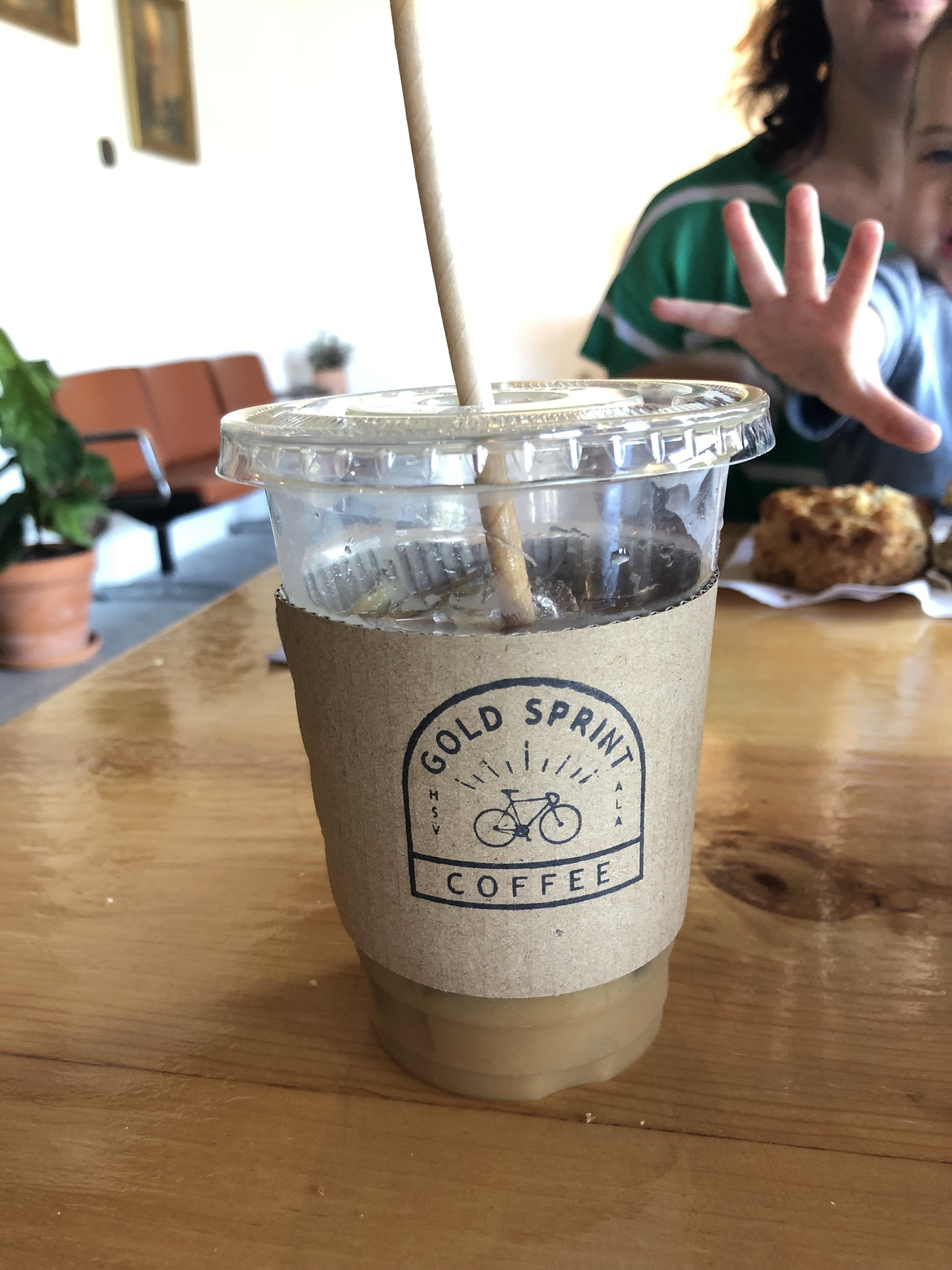 Gold Sprint Coffee  located in the Lowe Mill neighborhood  Coffee. Lattes. Beer & Food available. Pastries from Good Company and herbal tinctures from local herbalist Remedy Herbs.