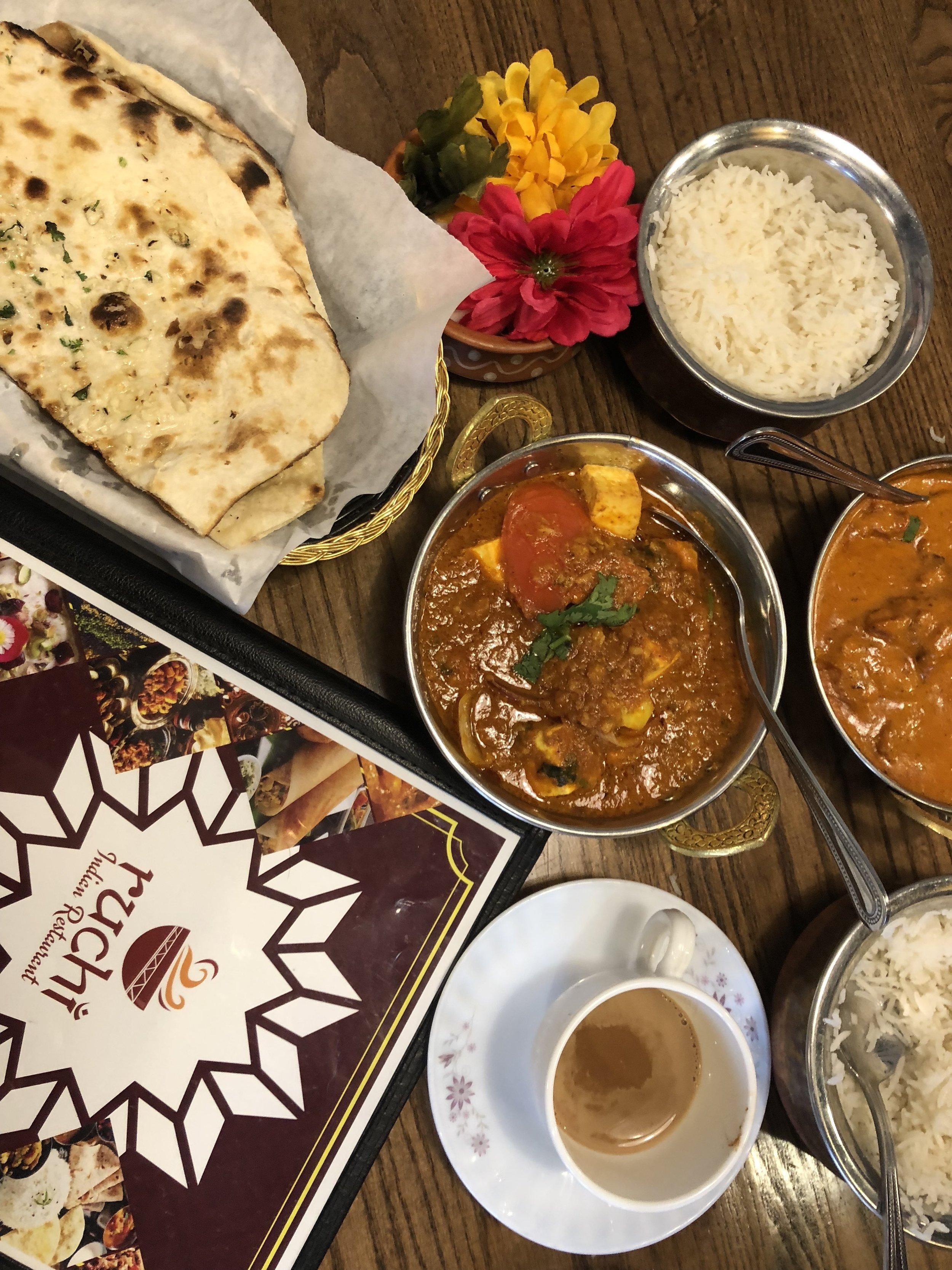 Ruchi Indian Restaurant  Butter Chicken. Paneer (indian cheese). Chai Masala. Naan