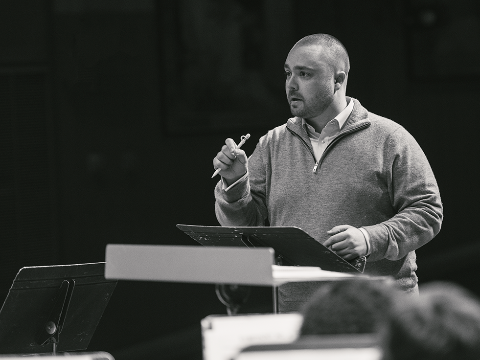 Matthew Maslanka works with many groups to rehearse his father's music.