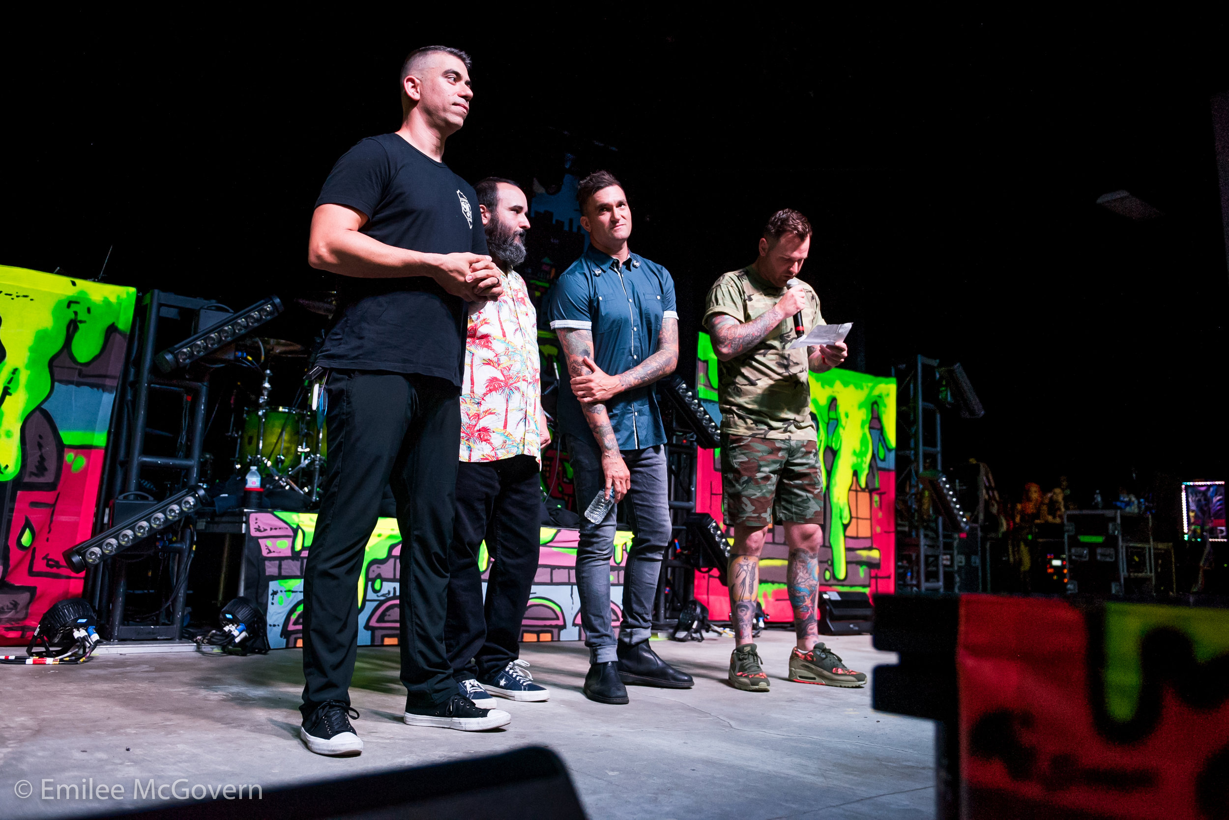 South Florida natives New Found Glory address the crowd at the Parkland Strong Benefit concert that was held to raise money for Marjory Stoneman Douglas victim families, and survivors. 3,000 people attended the soldout show, in support of their community.