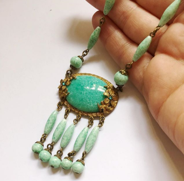 An exciting 1930s bohemian style, Czech, peking glass necklace. Rare to find and in excellent condition. $175
