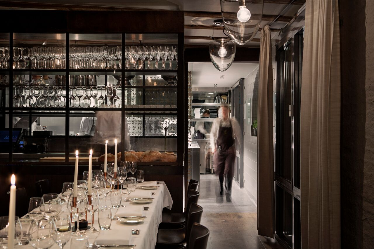 Hotel Brosundet Restaurant Ålesund Norway, modern and raw fine dining area , interior design by GARDE. Mads Emil Garde