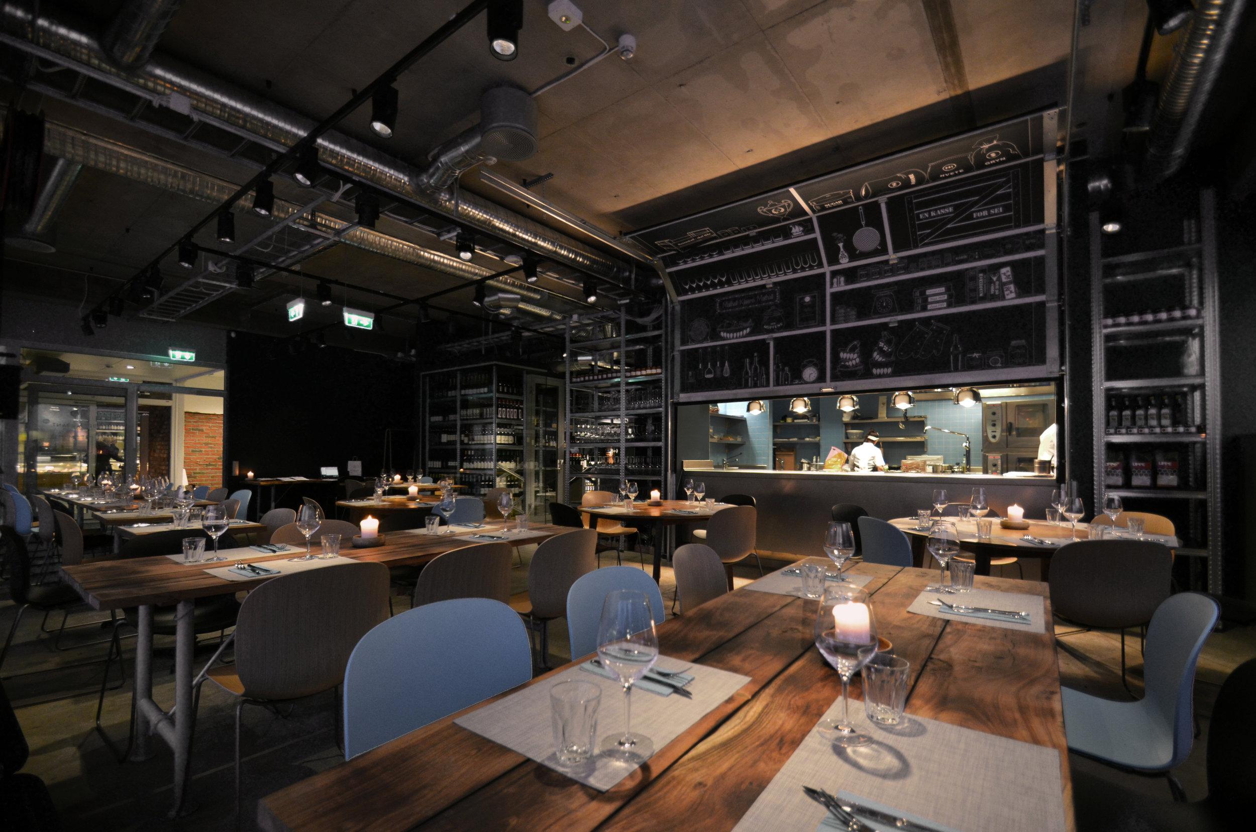 Rustic modern Scandinavian restaurant Mathallen Tromsø, designed by GARDE. Mads Emil Garde