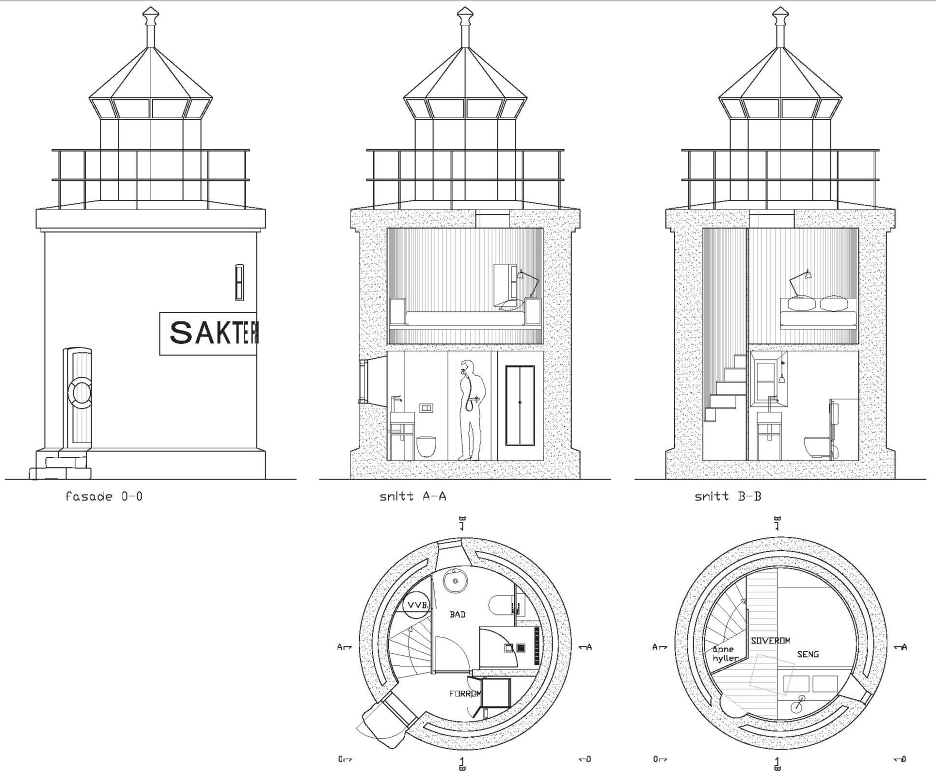 Hotel Brosundet Lighthouse Suite, Ålesund, Norway, Rustic hotel suite in a 150 years old lighthouse drawings, by GARDE. Mads Emil Garde