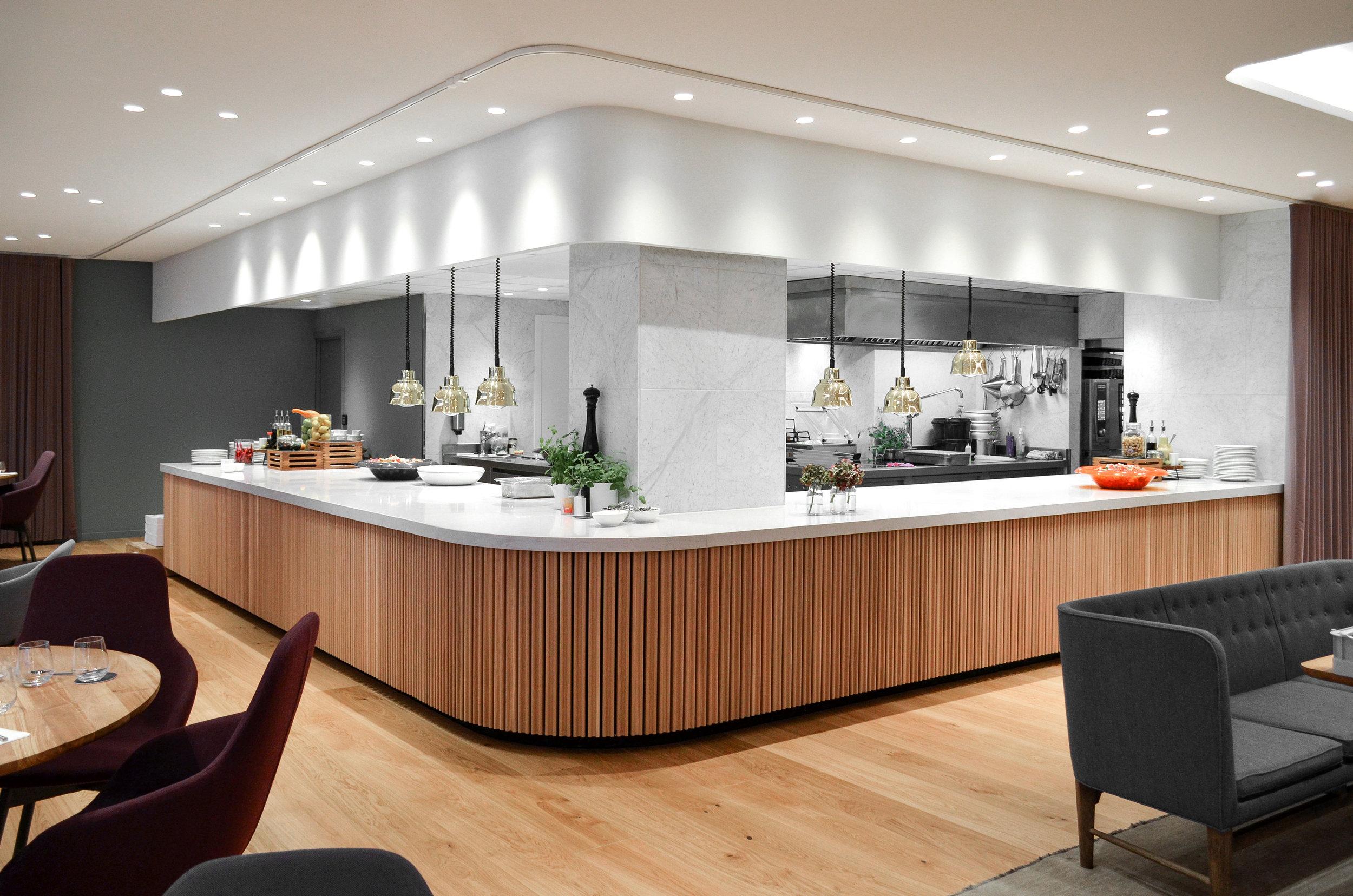 Restaurant Tivander architect drawn kitchen, scandinavian interior design and furniture