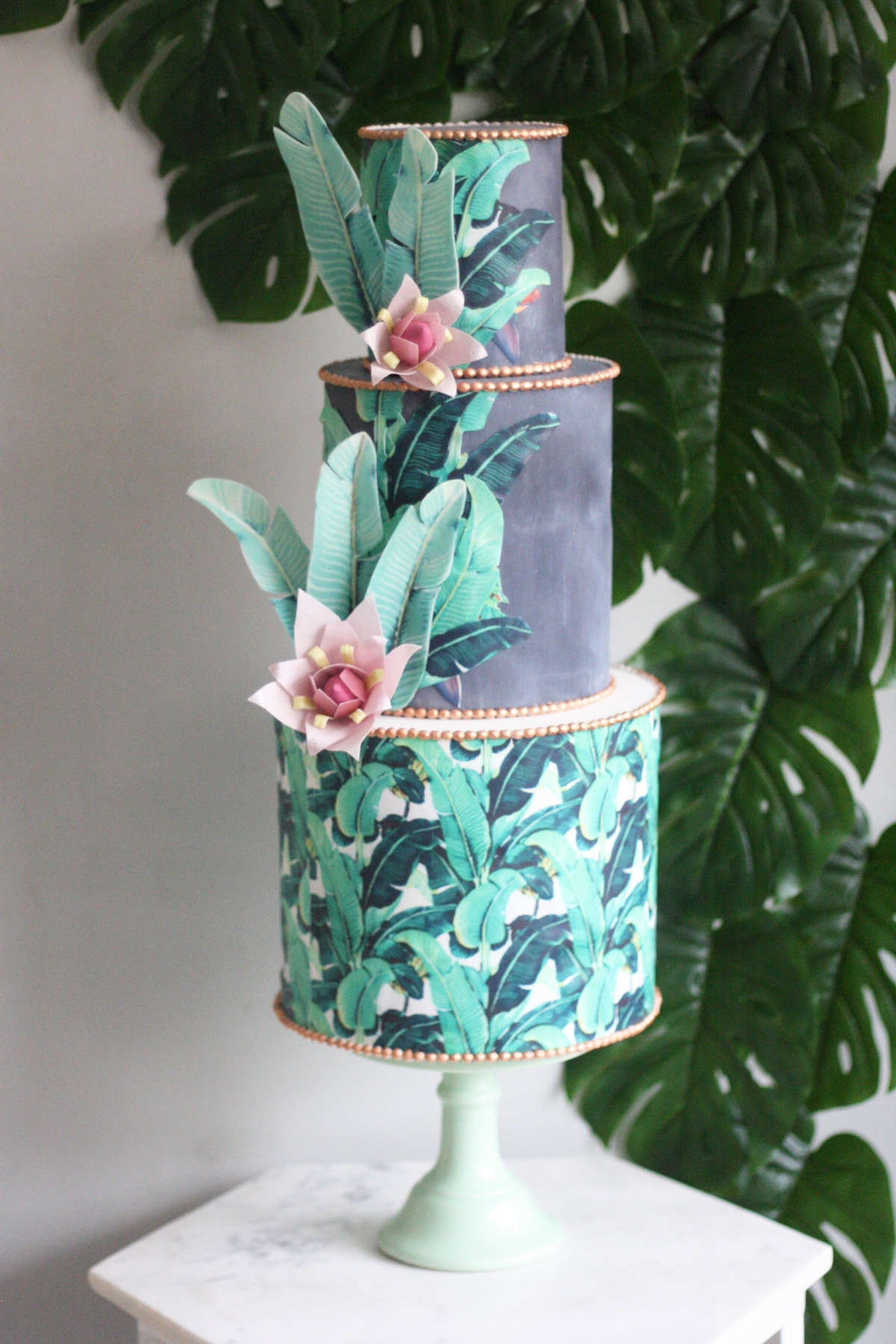 Malarkey Cakes Banana leaf wedding cake.jpg