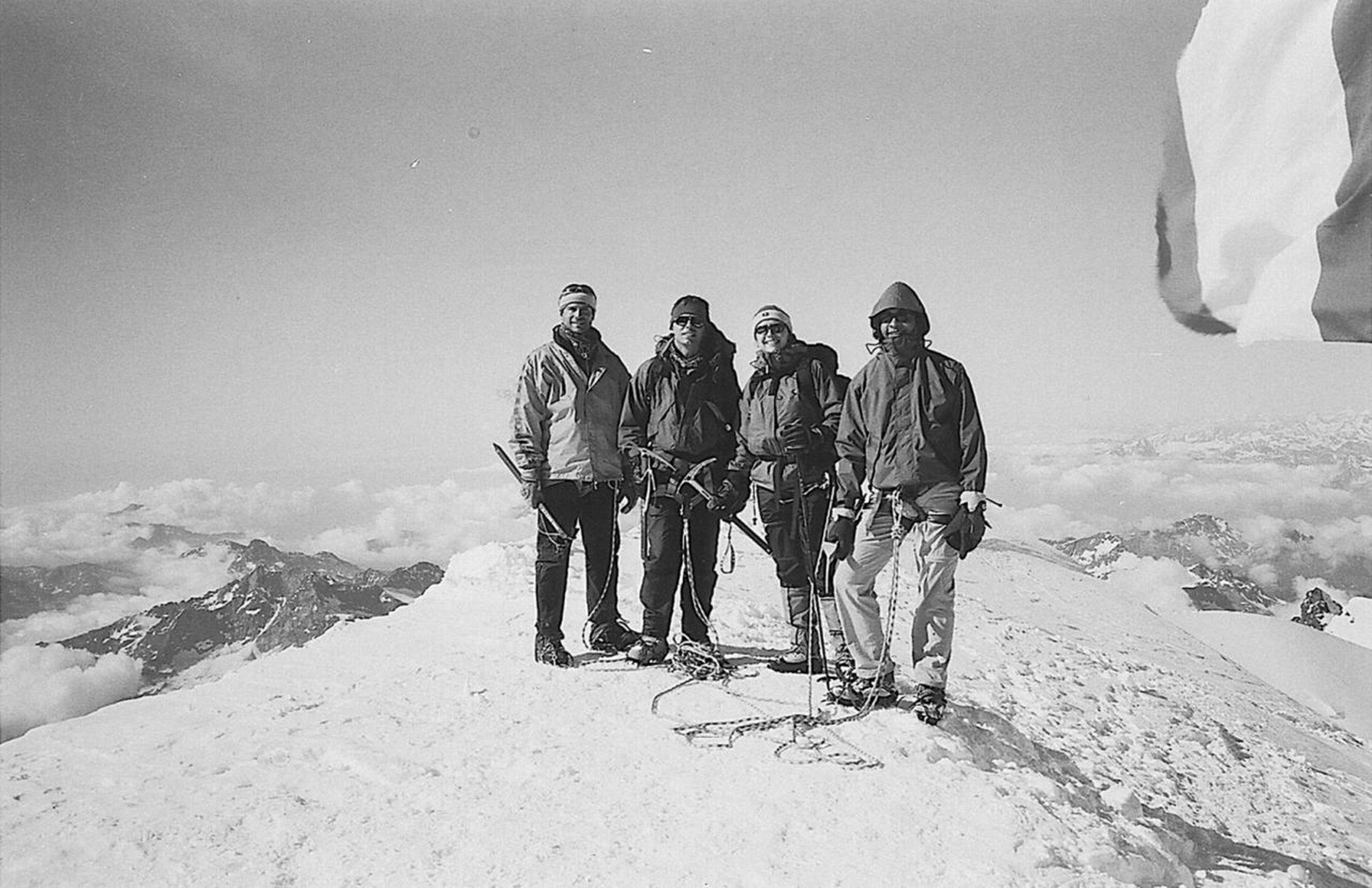 Francis Jacquerye (far right), Monte Rosa, 4554 metre (14941 ft.) above sea level.