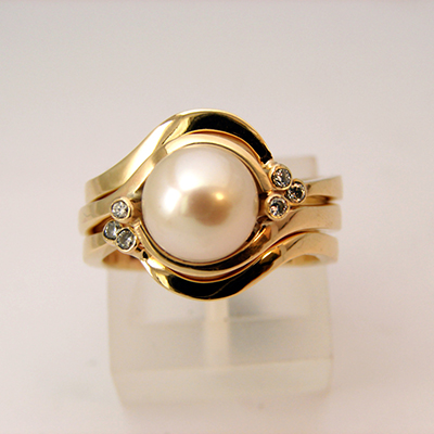 Pearl Engagment RIng with fitted wedding and Eternity bands