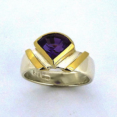 Amythest Fancy Pie Cut Gold and Silver Ring
