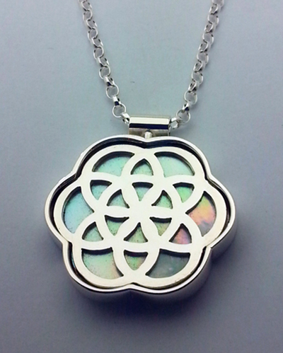 Flower of Life Pendent Mother of Pearl, Sterling Silver.jpg